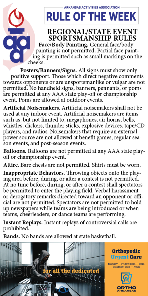 Regional/State sportsmanship rules