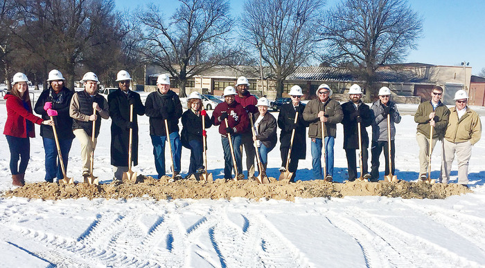 Employees with the Blytheville School District and others associated with the future Multi-Purpose Arena participated in groundbreaking ceremonies Jan. 18, with actual work to begin within two weeks.